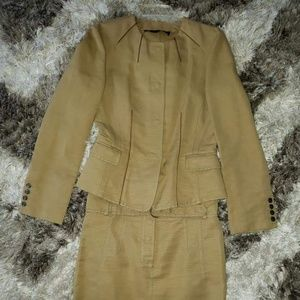 Burberry Tan Canvas Skirt Suit Size Small